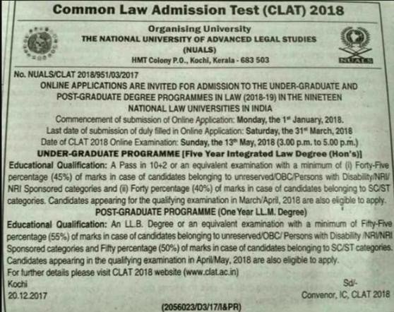 CLAT Exam 2018 Date