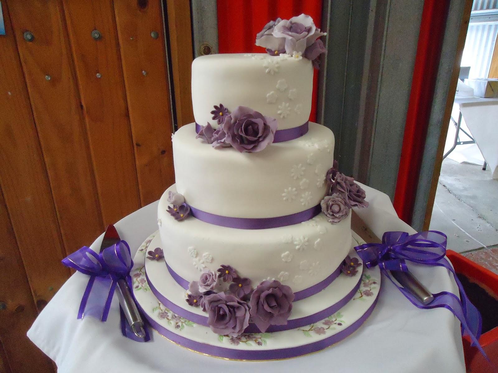 Purple Flowers Wedding Cake Fifi S Cakes