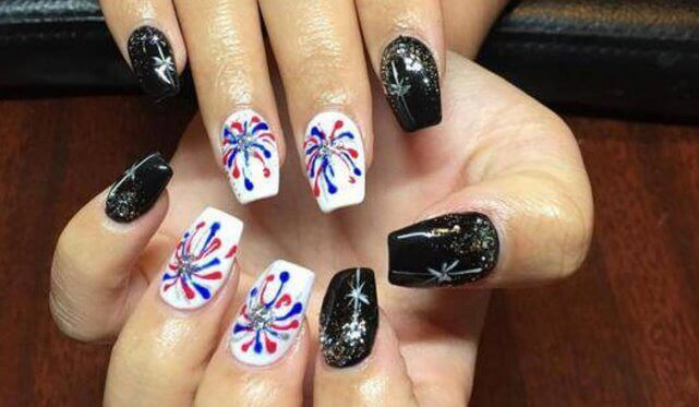awesome ,rebel flag nail art ,short nails