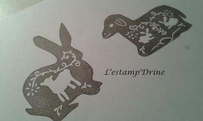 lapin et mouton paques gravure de tampons