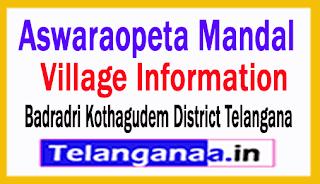 Aswaraopeta Mandal Villages in Badradri Kothagudem District Telangana
