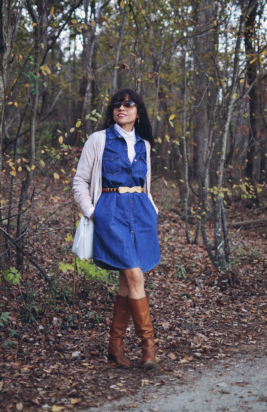 Denim dress with tall boots