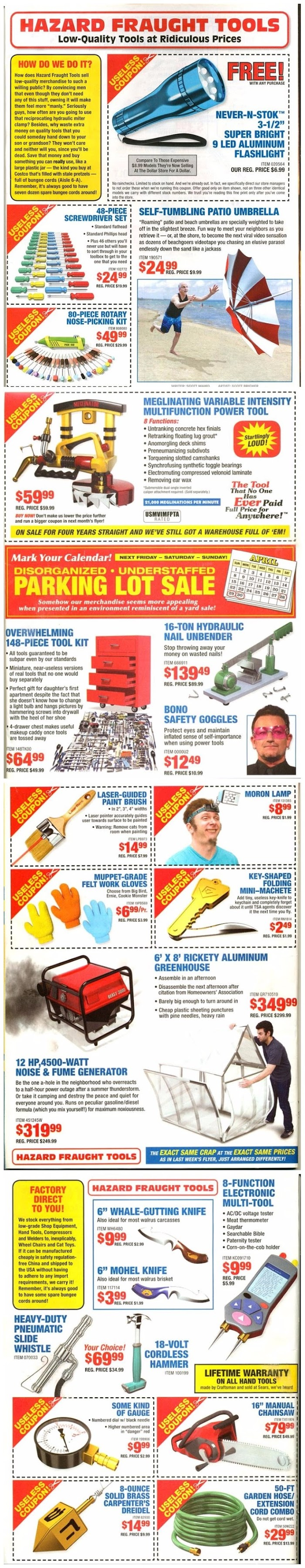 Funny Hazard Fraught Tools Sale - Low Quality at Ridiculous Prices Joke Picture