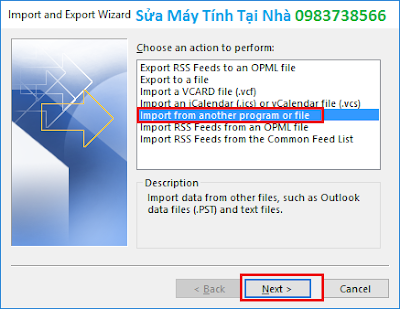 Phục hồi dữ liệu Outlook 2016 - H08