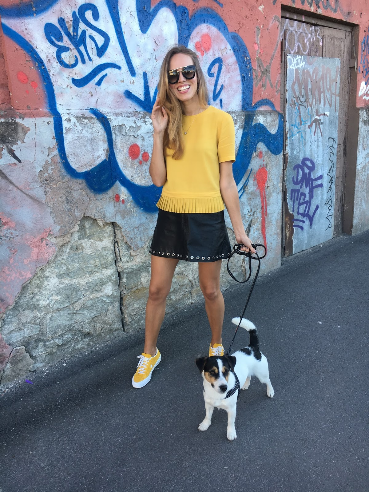 pleated yellow top leather mini skirt outfit summer