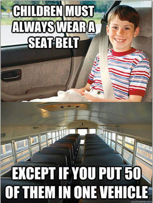 Children Must Always Wear A Seat Belt - Except If You Put 50 Of Them In One Vehicle
