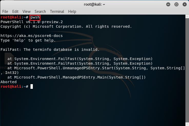 Avvio PowerShell tramite pwsh