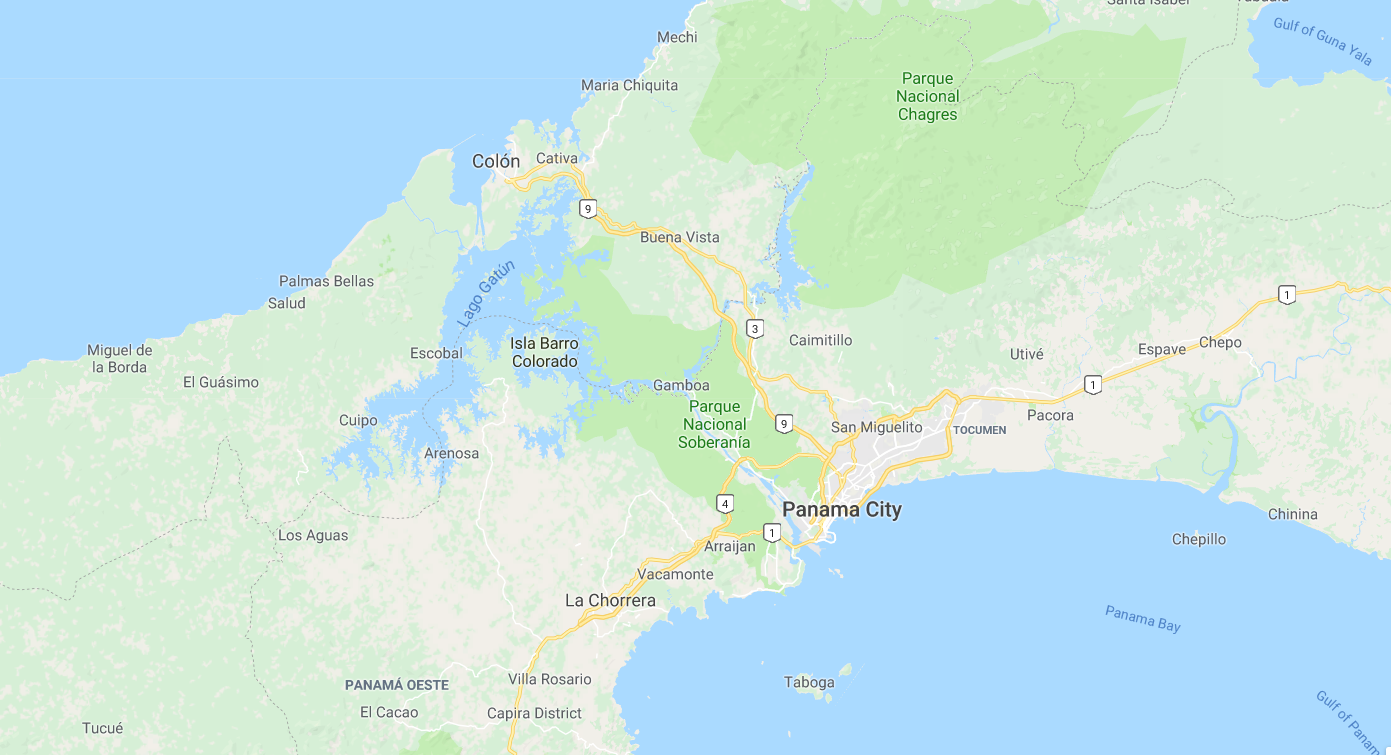 How to visit the panama canal travelsandmore the panama canal source google maps gumiabroncs Choice Image