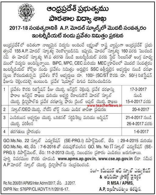 AP Model School Inter Admission Notification Application form 2017
