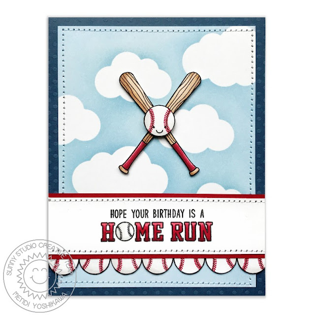 Sunny Studio Stamps: Team Player Home Run Birthday Baseball Card by Mendi Yoshikawa