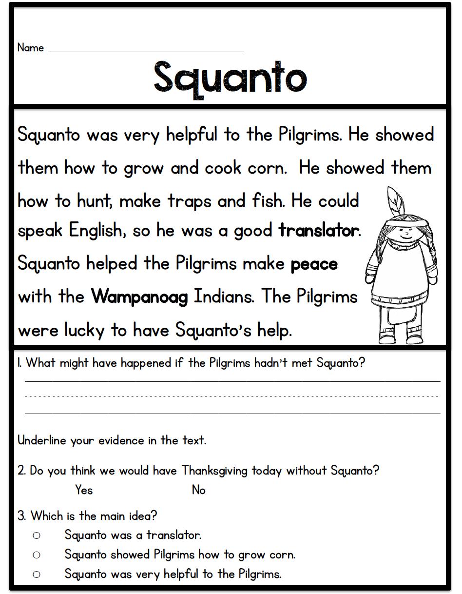 Left Overs Grade Reading Thankgiving Comprehension 5