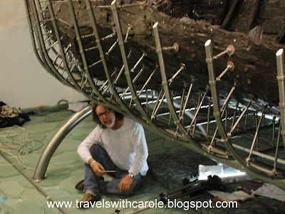 """""""Jesus Boat"""" reconstruction at The Yigal Alon Center in Capernaum, Israel"""