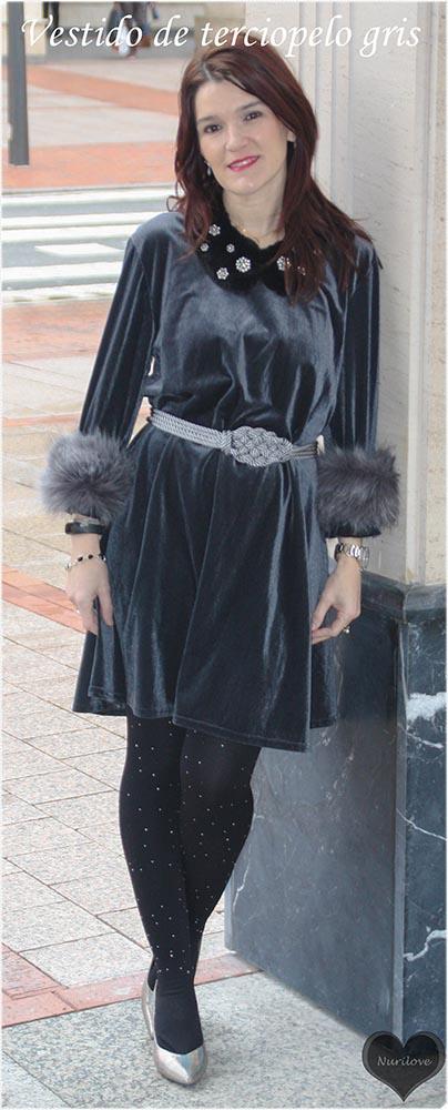 vestido de terciopelo gris ideal para una boda o comunión
