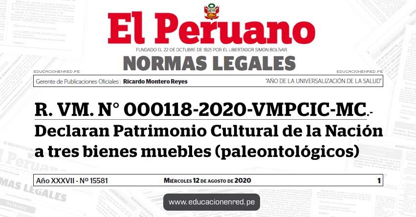 R. VM. N° 000118-2020-VMPCIC-MC.- Declaran Patrimonio Cultural de la Nación a tres bienes muebles (paleontológicos)