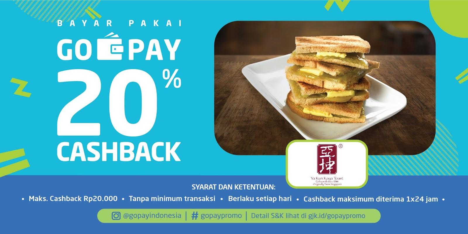 Gojek - Promo Ya Kun Kaya Toast Cashback 20% Pakai GoPay (s.d 23 Des 2018)