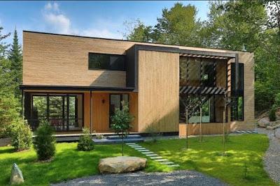 Desain Rumah Papan Minimalis Modern Tampilan Alami 1