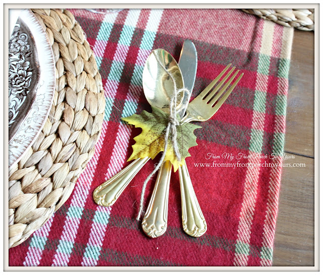 Vintage Gold- Utencils-Thanksgiving- Fall- Dining Room-From My Front Porch To Yours