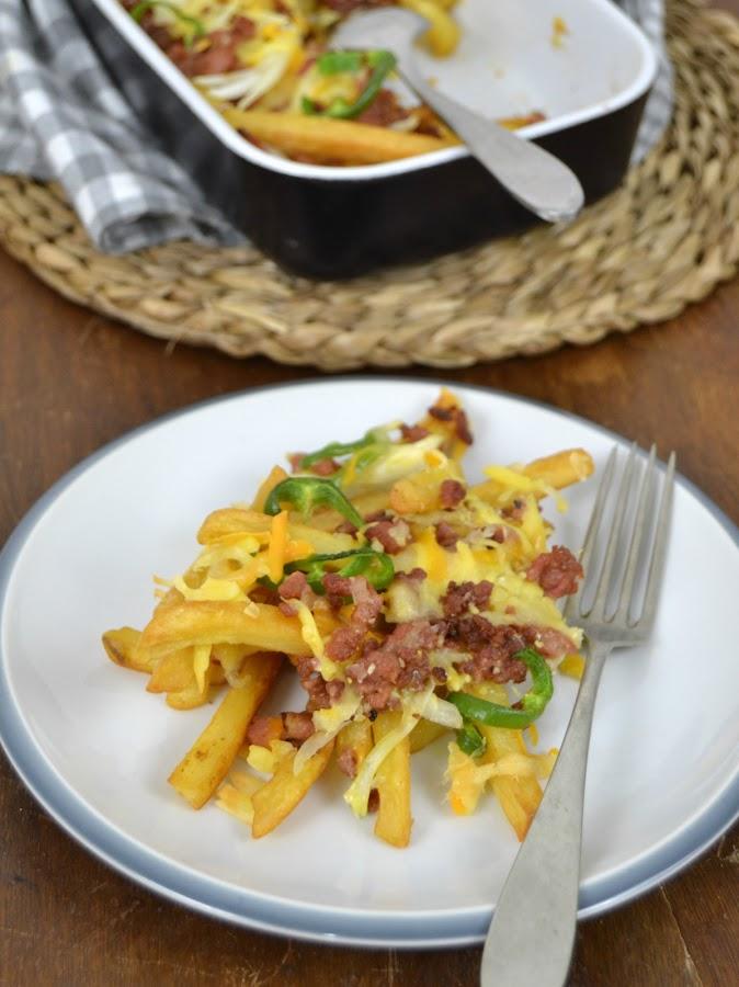Patatas fritas con carne y queso estilo Tex-Mex