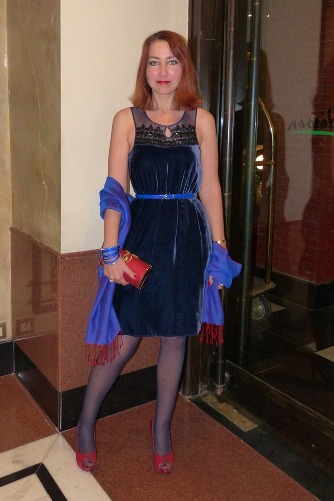 Velvet party dress embellished with rainstones