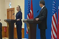 Hillary Clinton and Ahmet Davutoglu
