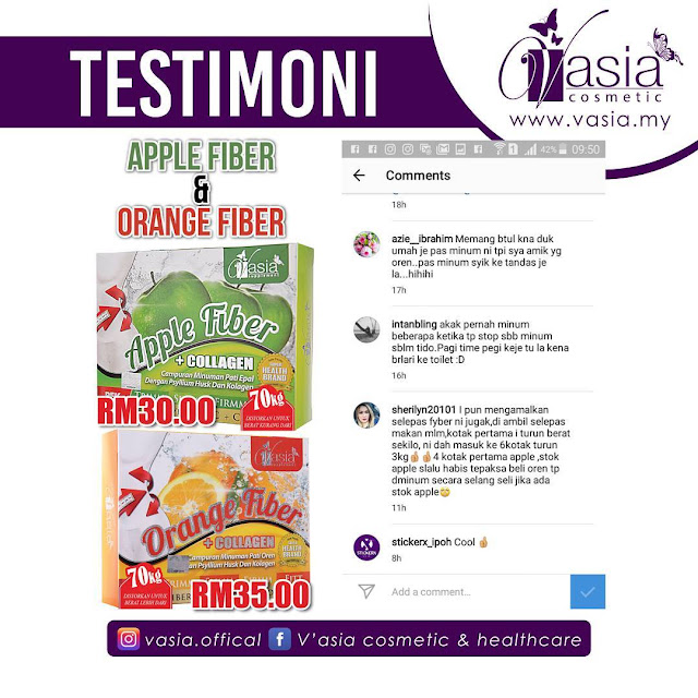 Testimoni Apple Fiber + Collagen V'asia