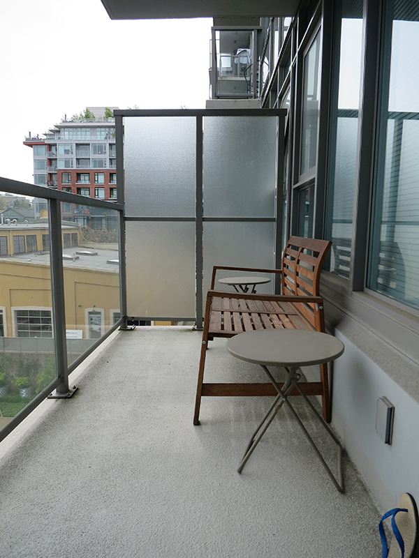 Vancouver city condo apartment small space patio makeover using IKEA finds - before shot