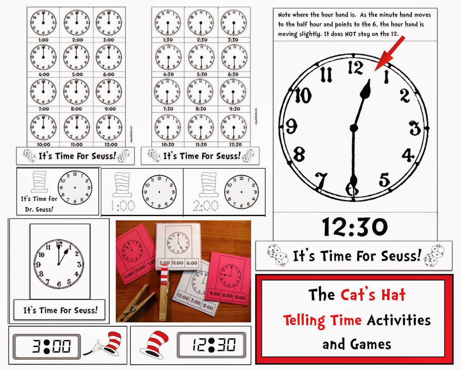 Classroom Freebies Seuss Themed Telling Time To The Hour