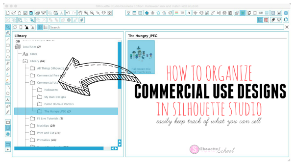 Commercial use files organizing Silhouette Studio library, silhouette studio, silhouette cameo, commercial use, commercial free, SVGs, the hungry jpeg, print and cut