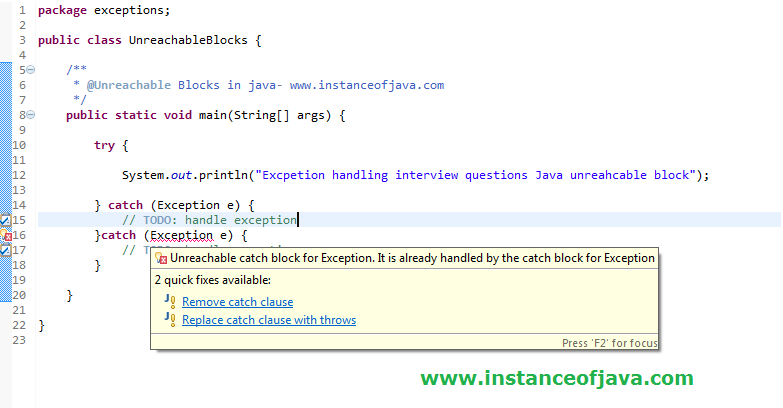 unreachable block exception handling interview question