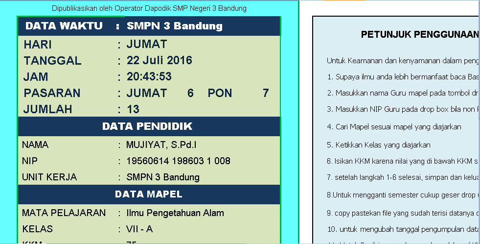 Software Penilaian IPA K 13 Sederhana Aplikasi Excel Free Download