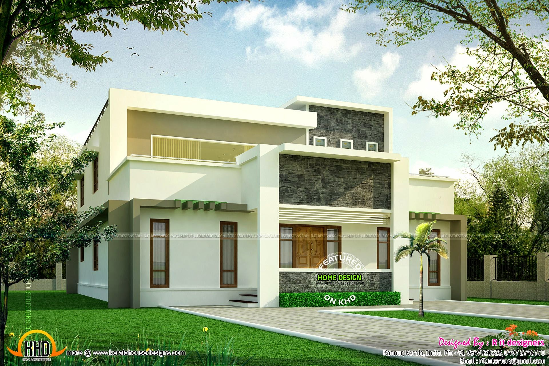 Flat roof home luxury kerala home design and floor plans for Flat roof modern