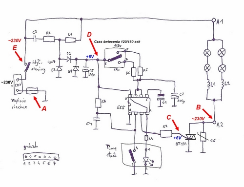 schemat elektryczny lampy UV