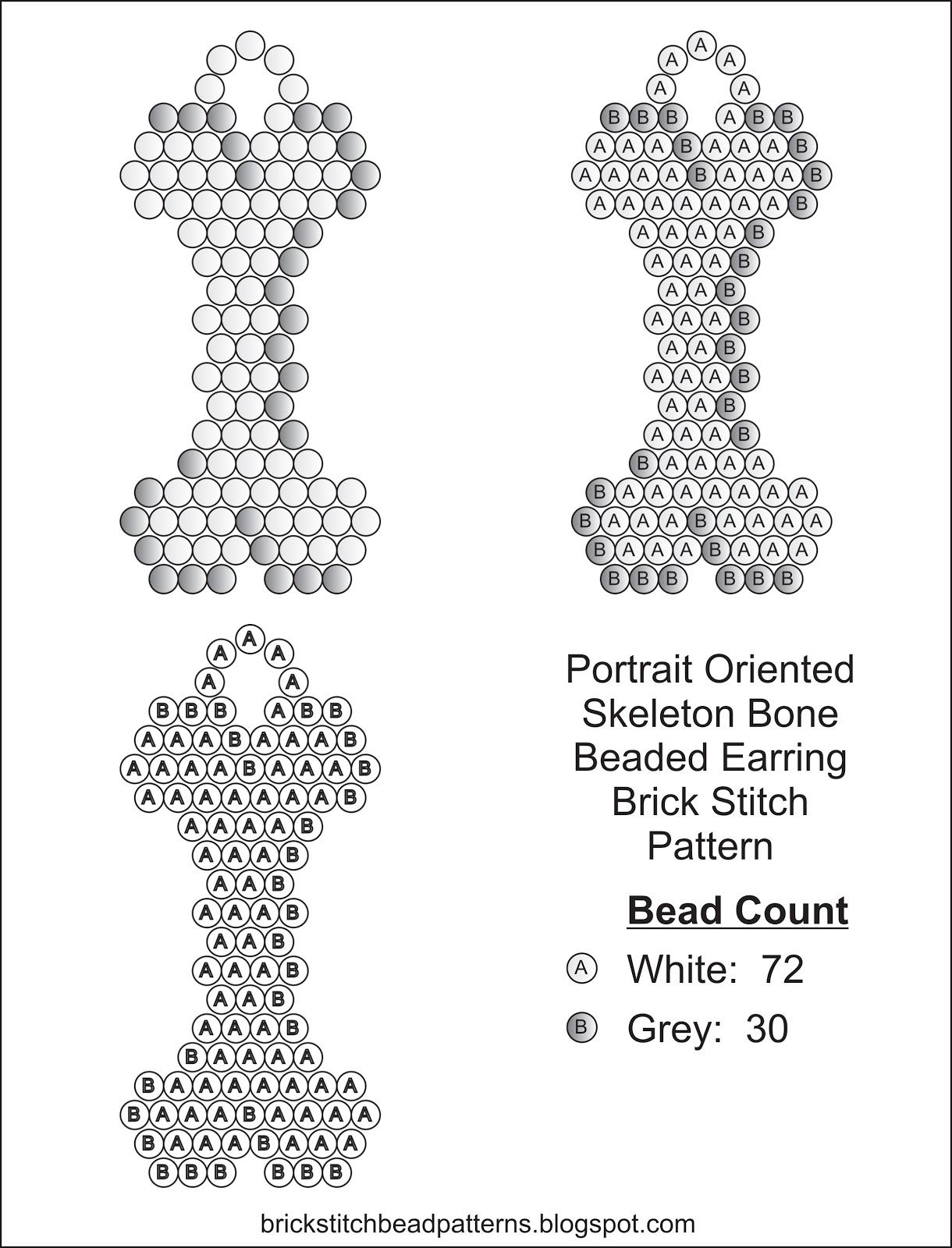 Brick Stitch Bead Patterns Journal: Skeleton Bone Free
