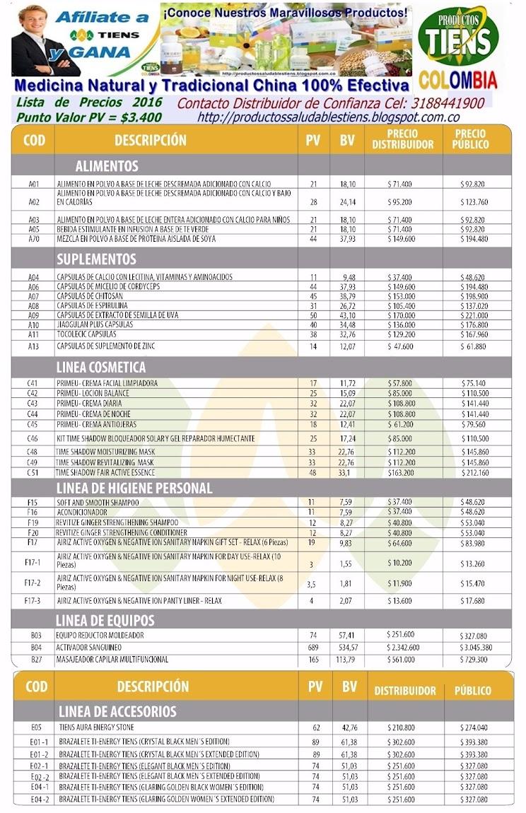 Lista De Precios De Productos Tiens 2016 Actualizada