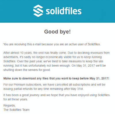 email penutupan solidfiles yang dikirimkan ke member