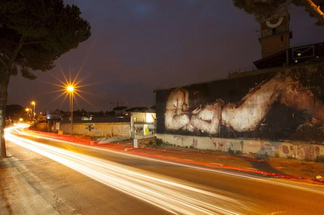 """Piedad"" New Street Art Piece By Borondo On the streets of Rome, Italy. night"