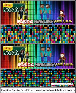 Pixel Gum 3D, Roblox and Minecraft Free Printable Candy Bar Label.