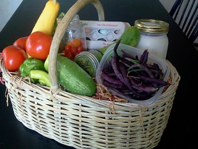 Basket of veggies with milk and eggs