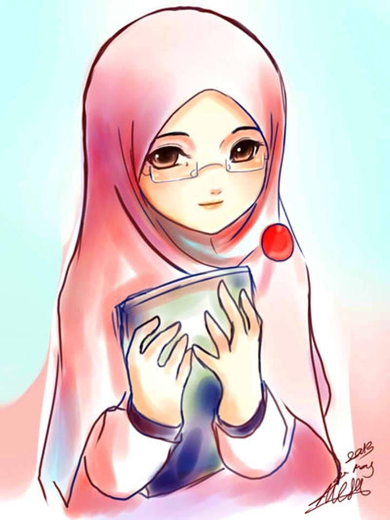 11 kartun muslimah membaca alquran dan buku anak cemerlang