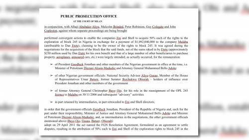 Italian Prosecutor's Office document detailing how GEJ and others  were paid off in Malabu oil block deal Credit: Sahara Reporters Media