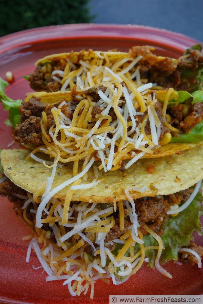 A easy and fast pizza for a family Pizza Night--combining leftover taco meat with vegetables and grains on a tortilla pizza covered with cheese.