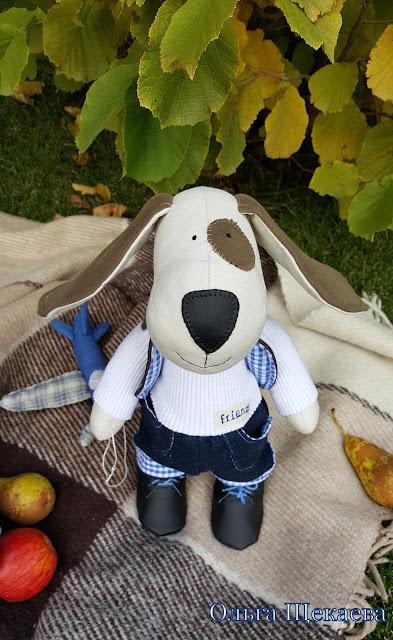 собака, пёс, ручной работы, игрушка, из ткани