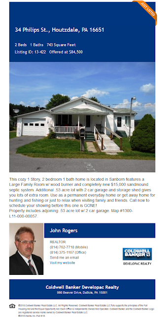 john rogers coldwell banker developac realty 34 philips st sanborn houtzdale clearfield county pa wilds home for sale