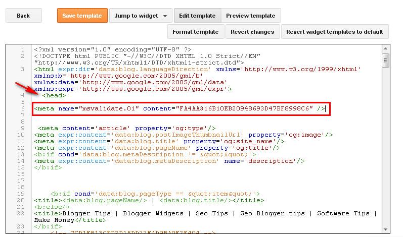 Bing webmaster tools verification code