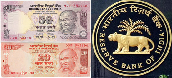 RBI new 20 rupees 50 rupess notes 2016 with L Series in india