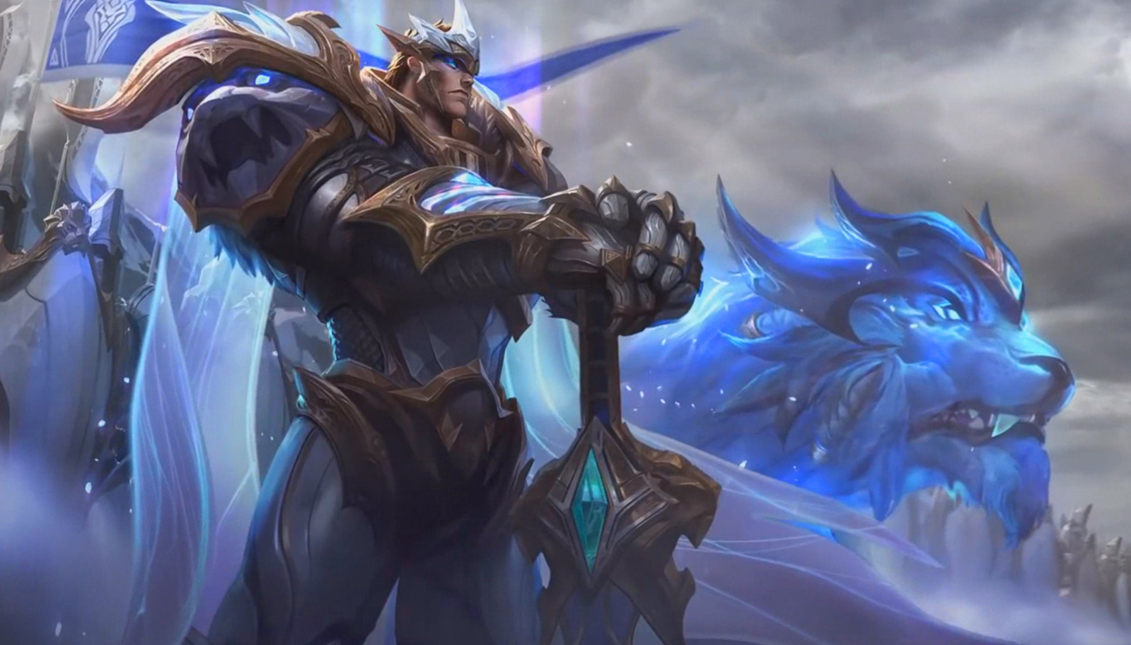League of Legends God King Garen Login Screen Free Animated Wallpaper.