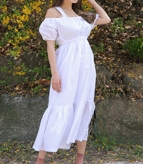 [Stylenanda] Open Shoulder Frilled Hem Dress