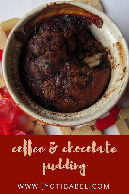 Coffee and Chocolate Pudding is a self-saucing dessert. It is chocolatey (quite evident), gooey and almost tastes like a fudge brownie. www.jyotibabel.com