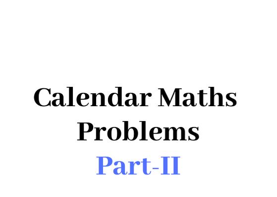 Calendar maths Problems