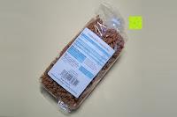Verpackung hinten: Sojanudeln BIO (1x250g) mit 41% Protein, Low Carb, NON-GMO von Five-Mills.de für Muskelwachstum und Muskelerhalt - Eiweißnudeln geeignet als Fleischersatz Supplementersatz Vegetarier Soja aus Österreich